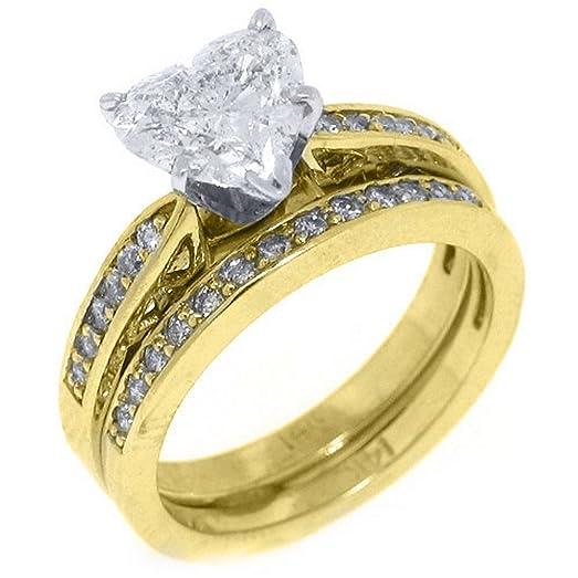 14k Yellow Gold Heart Shape Diamond Engagement Ring Wedding Band Set 2.18  Carats