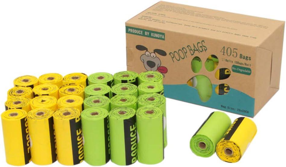 Kumoya - Bolsas biodegradables para excrementos de perro, hechas de almidón de maíz con dispensador, extra grandes, extra gruesas, herméticas