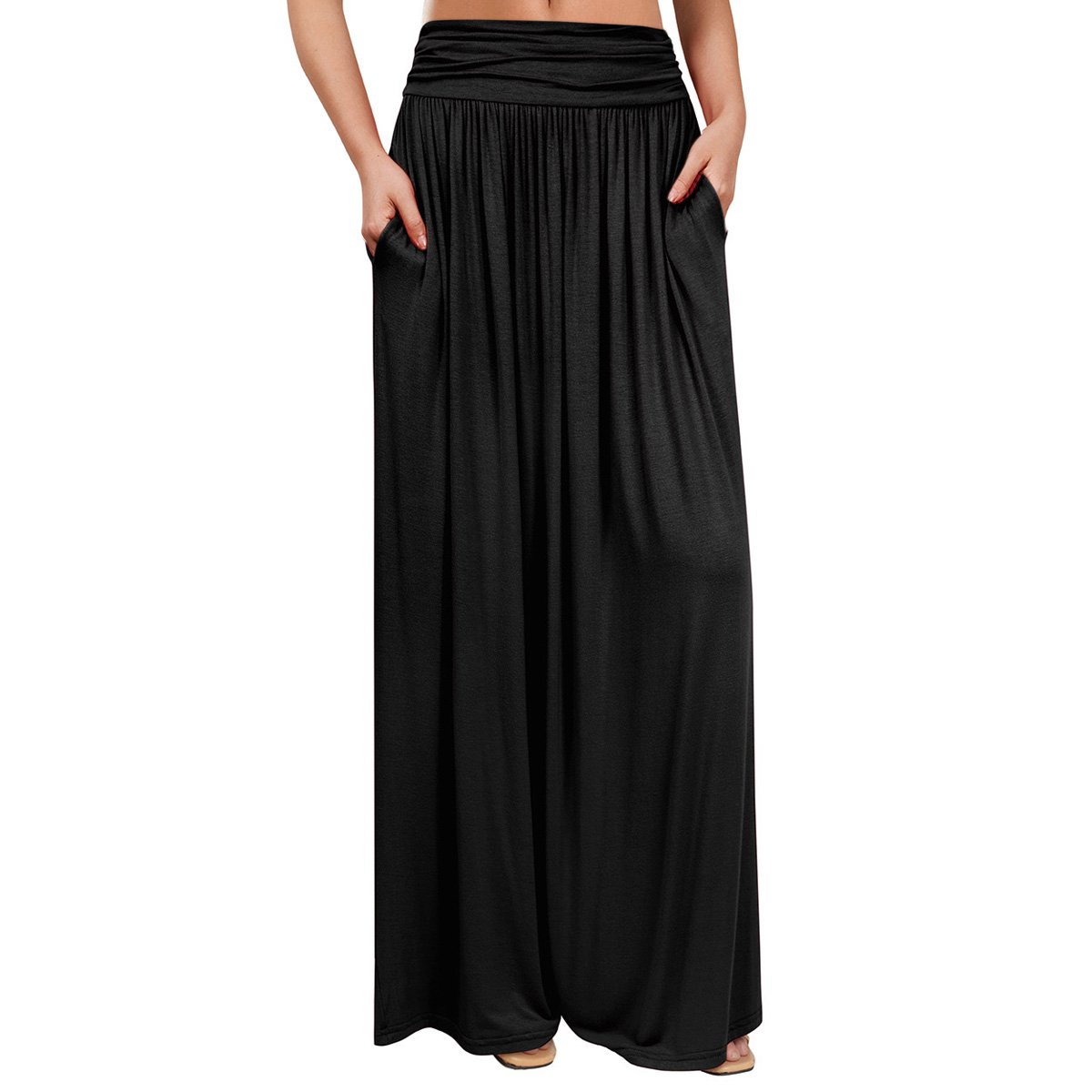 VeryAnn Women's High Waist Fold Over Black Long Maxi Shirring Skirt with Pockets