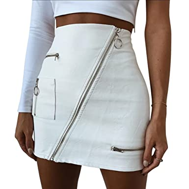 fa85cb1d2 Alian Womens Bodycon Sexy Skirt High Waist Above Knee PU Faux Leather Mini  Skirts  Amazon.co.uk  Clothing