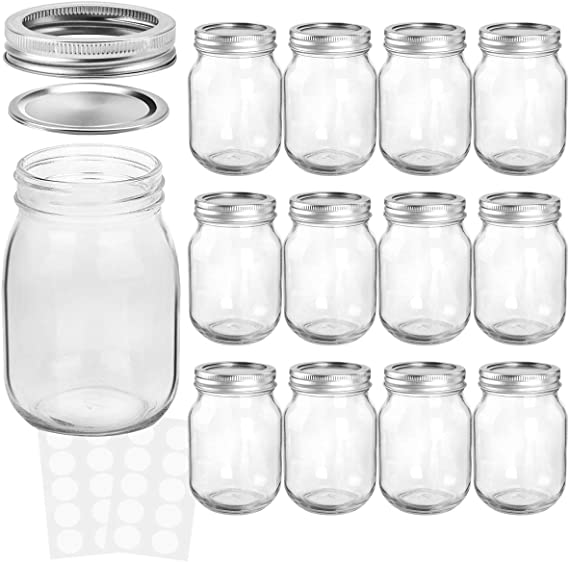 KAMOTA Mason Jars 16 oz With Regular Lids and Bands, 12 PACK, 20 Whiteboard Labels Included