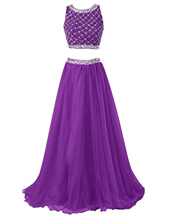 Callmelady Beading Two Piece Long Prom Dresses UK for Women Evening Gowns (Purple, UK30