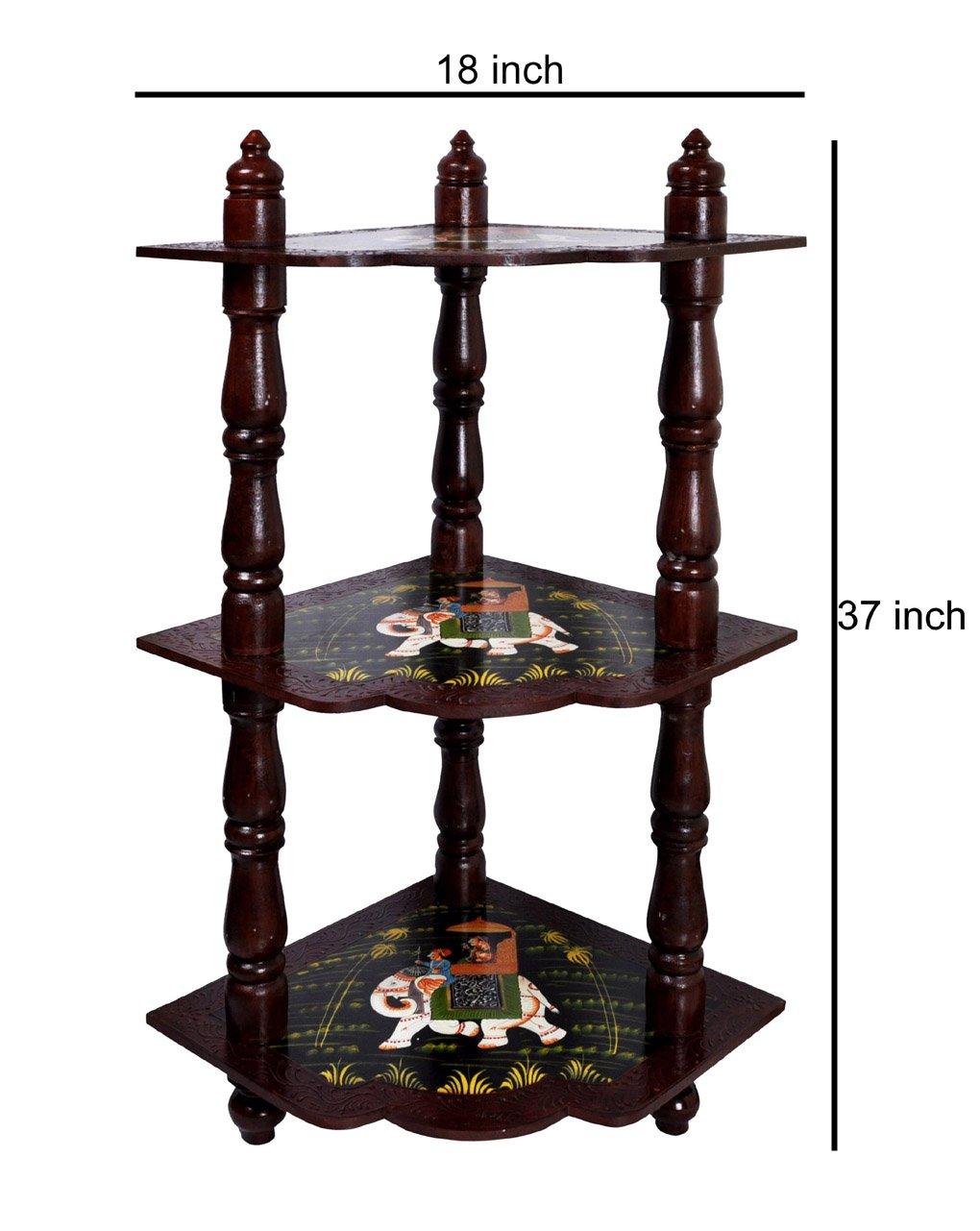Organiseur d'angle en bois table de rack de stockage étagère