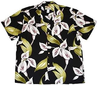product image for Paradise Found Mens XX-Large Black Calla Lily Hawaiian Rayon Shirt