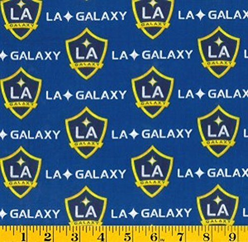 Cotton LA Los Angeles Galaxy on Blue MLS Soccer Sports Team Cotton Fabric Print by the Yard by Field`s Fabrics
