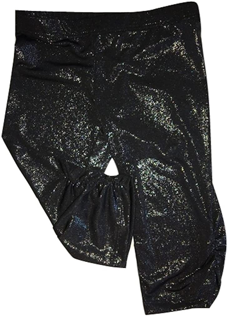 Mi Parti Girls Ruched Silver Sparkle Capri Leggings Sizes 4-10