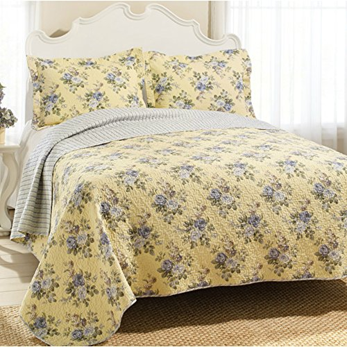King Size Yellow Bedspread Quilt Set with Light Gray / Blue Roses & Reversible Stripe Patterns - 3 Pieces