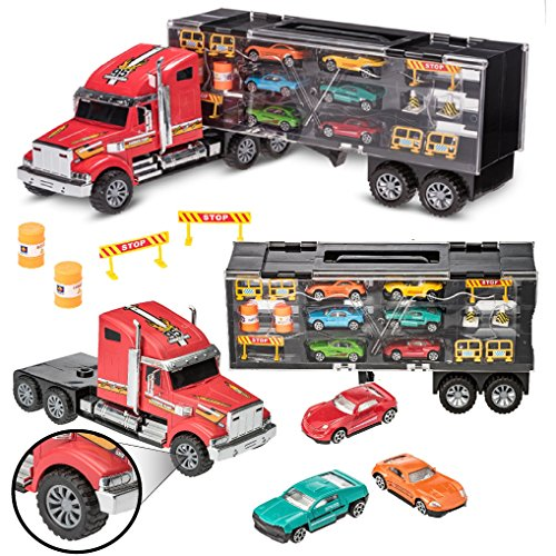 Prextex 24'' Detachable Carrier Truck Toy Car Transporter With Rubber Wheels and 6 Toy Cars Toys For Boys And Girls (Transporter Car Toy)