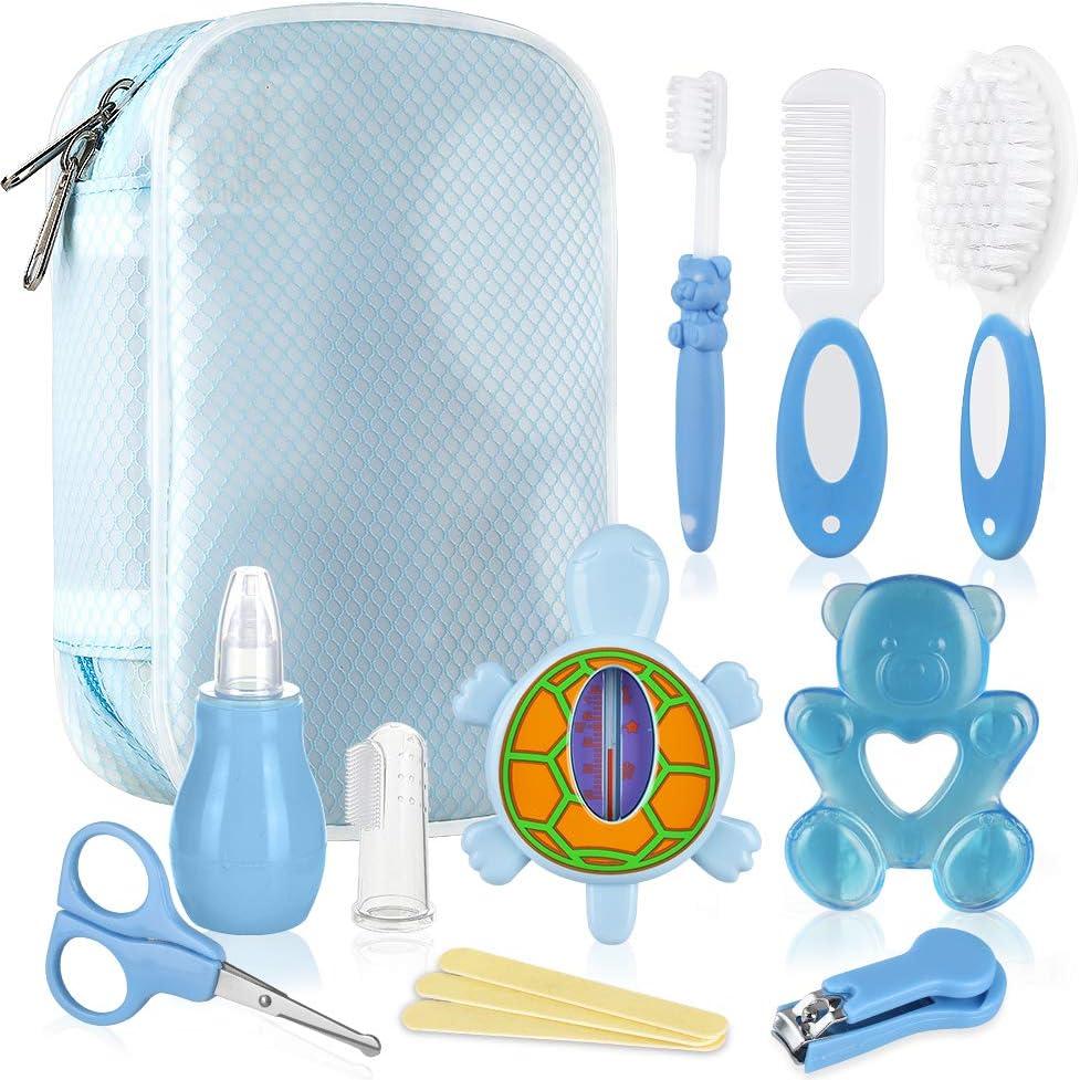 Lictin Set para Cuidado del Bebé-15 Piezas Kit de Aseo para Bebés con Cuchara de Oreja con LED Cepillo de Pelo y Peine,Cortador de Uñas Cepillo de Dientes de Dedo para Viaje y el Uso Diario,Azul claro
