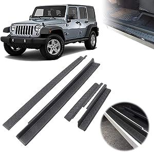 KOMAS 4pcs Door Sill Entry Guard Scuff Plate Protector Set Black for 2007-2018 Jeep Wrangler JK 4 Door