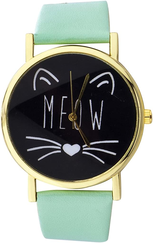 Lux Accessories Xmas Christmas Holiday Gold Tone Meow Cat Face and Mint Pattern Watch Band Watch