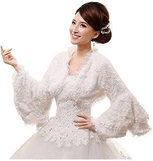 Jungen Bolero de boda para mujer novia Bolero Chaquetas chal con Trompeta mangas color blanco
