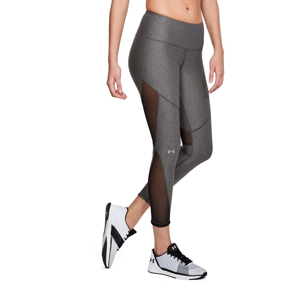 Under Armour Women's HeatGear Armour Mesh Ankle Crop, Charcoal Light Heath (019)/Metallic Silver, Small by Under Armour