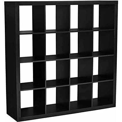 Modern Sixteen Square Cubbies Solid Black Closet Storage Unit With Cubes  Shelves Cabinet Shoe Organizer Space