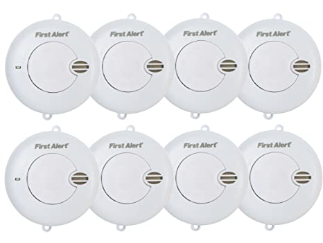 8 x First Alert Detector de humo 85 dB Fuego Detector de humo alarma Brand Detector