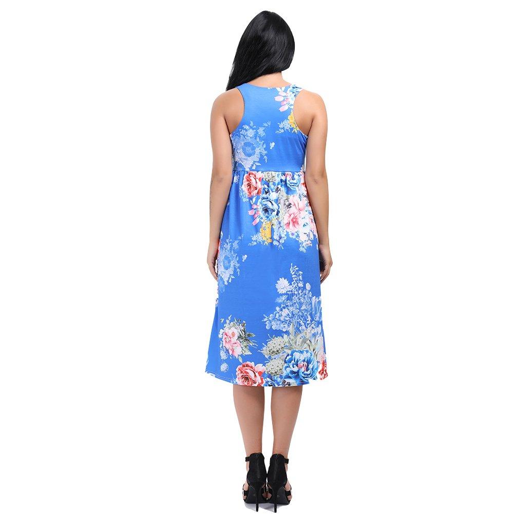 e390cea9c952 HUHHRRY Women s Floral Summer Dress Racerback Sleeveless Casual Tunic Mid  Length Maxi Dresses - Blue -  Amazon.co.uk  Clothing