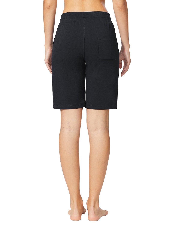 Baleaf Women's Active Yoga Lounge Bermuda Shorts with Pockets Black Size L by Baleaf (Image #2)