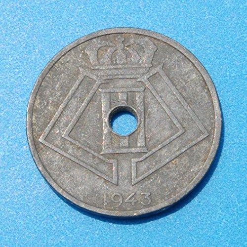 Belgium Belgie - Belgique 25 centimes 1943 WWII Zinc Coin Léopold III