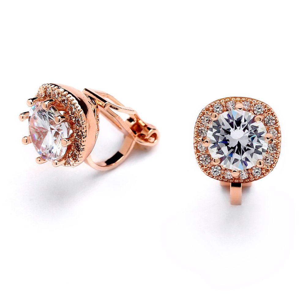 Mariell 14K Rose Gold Clip On Stud Earrings - Cushion Shape 10mm Halo Round Cubic Zirconia Clip Earrings 4556EC-RG