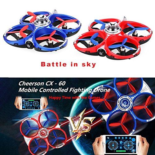 Racing Drone RC Battle Quadcopter, Dayan Anser 2 Players Battle Set Infrared Fighting Function, Phone APP WiFi Remote Control RC Racing Games (Red Blue 2pcs)