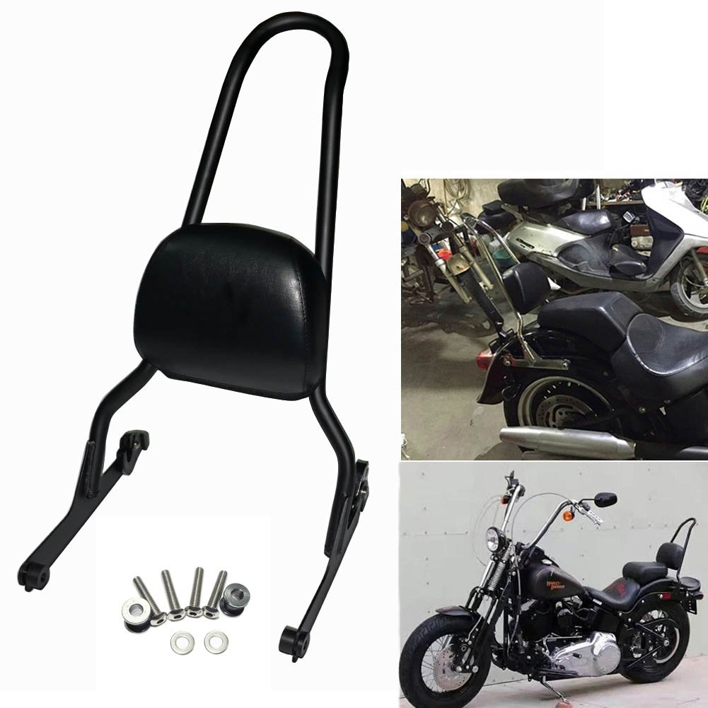 Black Motorcycle Detachable Backrest Sissy Bar For Harley Fatboy LO FLSTF Softail FXST FLST CVO by Beautyexpectly (Image #1)