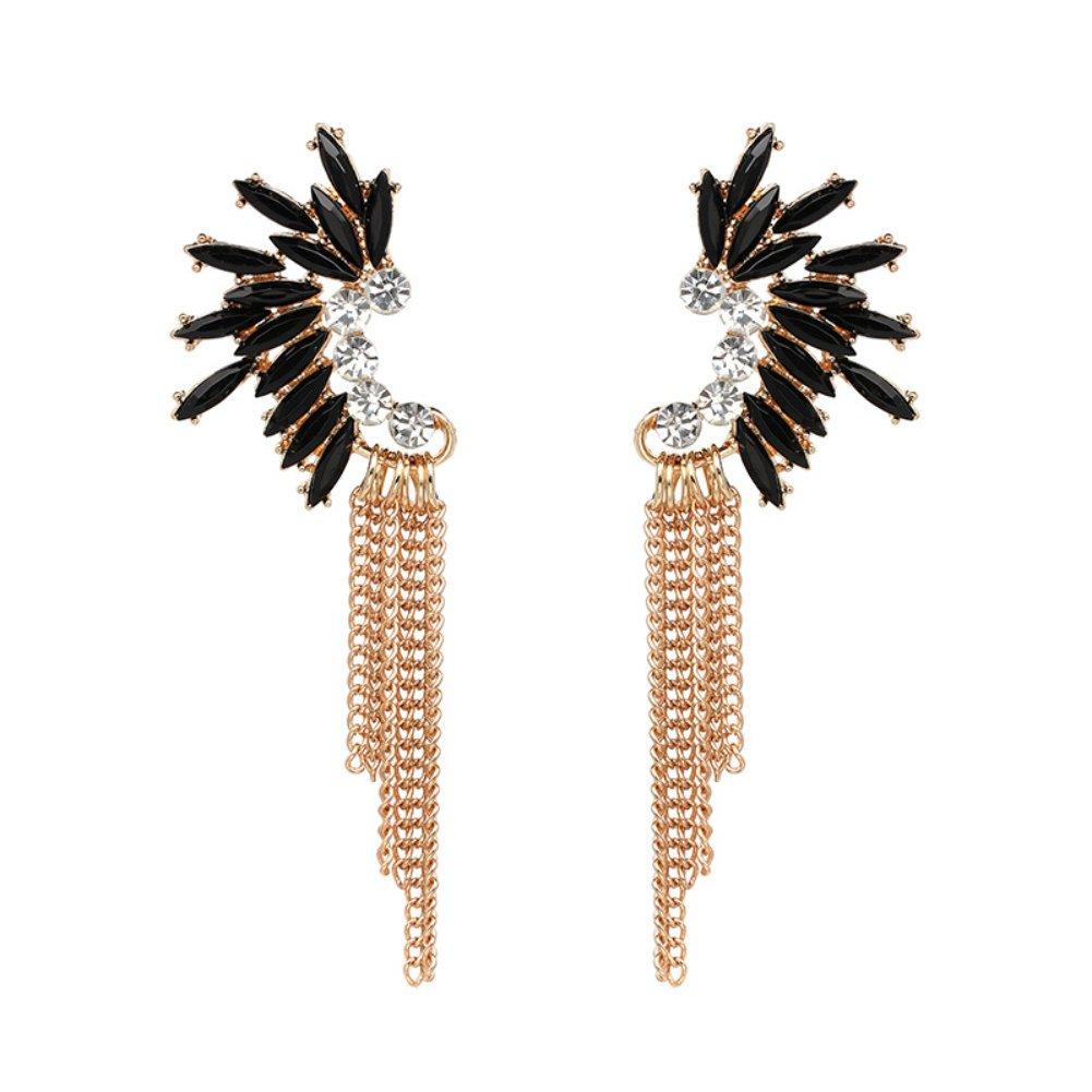 Gold Tone Tassel Dangle Drop Earring for Women Statement Crystal Rhinestone Charms (Black)
