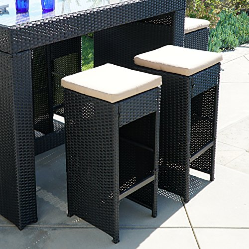 Belleze 7pc outdoor rattan wicker bar stool dining table set barstool w footrest black home Home bar furniture amazon