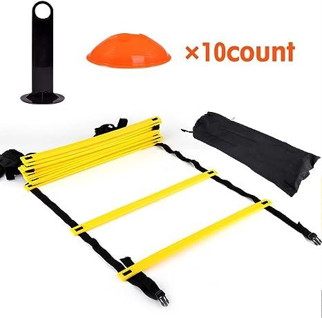 DEWIN Escalera for Agilidad - 12 peldaños Planos Ajustables y 10 Conos (Naranja/Amarillo) for Fo, Kit de Ejercicios de Entrenamiento de Velocidad: Amazon.es: Deportes y aire libre