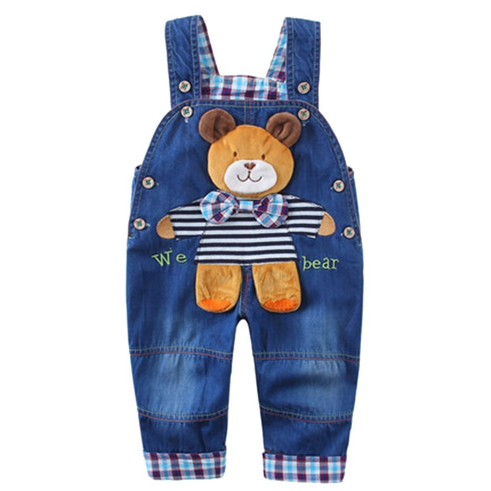 Kidscool Baby Soft Denim Adjustable Overalls with 3D Cartoon Bear