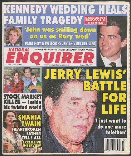 NATIONAL ENQUIRER JFK Jr Shania Twain Jerry Lewis 8/17 - Twain Jerry