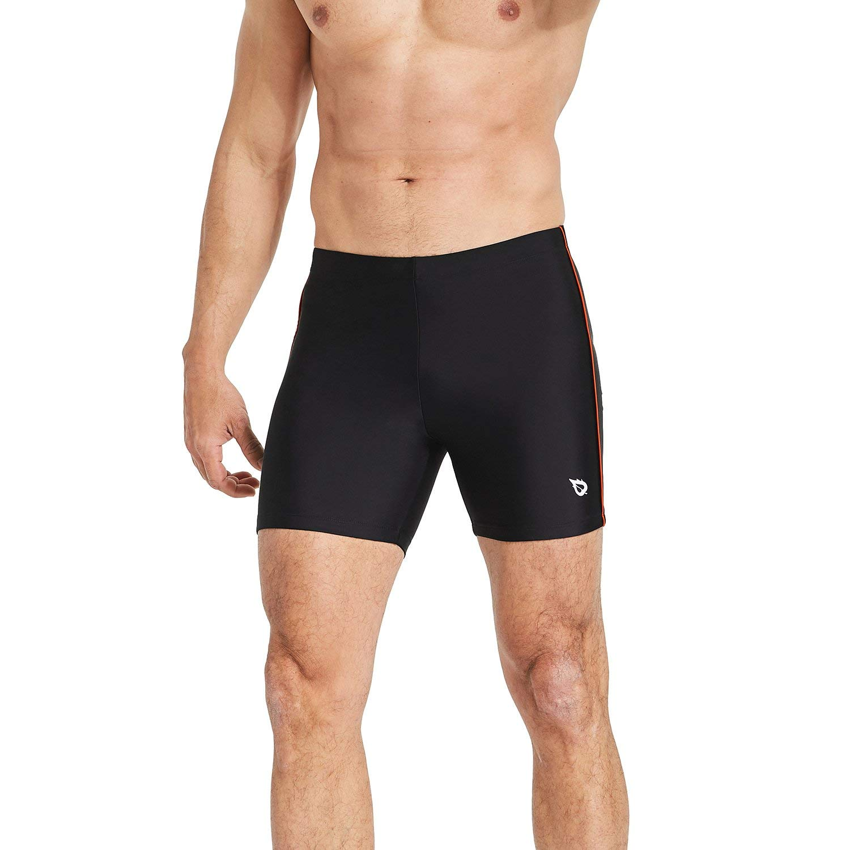 Baleaf Mens' Athletic Quick Dry Compression Square Leg Jammers Swim Brief Swimsuit Black Orange Sise L by Baleaf