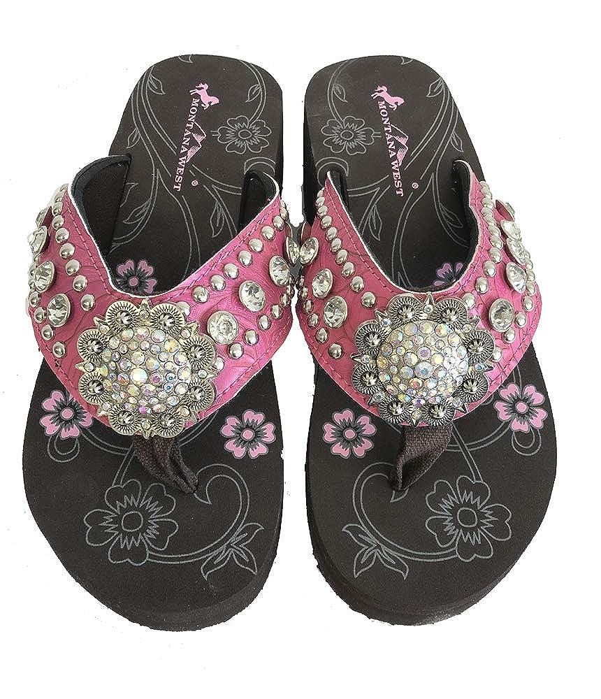 282f6bc46 Amazon.com  Montana West Ladies Flip Flops Large Rhinestones Floral Concho   Shoes