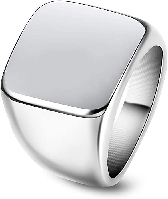 JewelryWe Chevali/ère en acier inoxydable poli pour homme couleur argent avec pochette cadeau