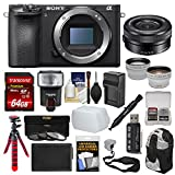 Cheap Sony Alpha A6500 4K Wi-Fi Digital Camera Body with 16-50mm PZ Lens + 64GB Card + Backpack + Flash + Battery & Charger + Tripod + Kit