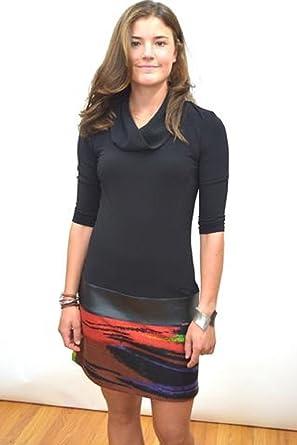 Joseph Ribkoff Black, Red & Purple Cowl Neckline Tunic Dress Style 163668 - Size 12