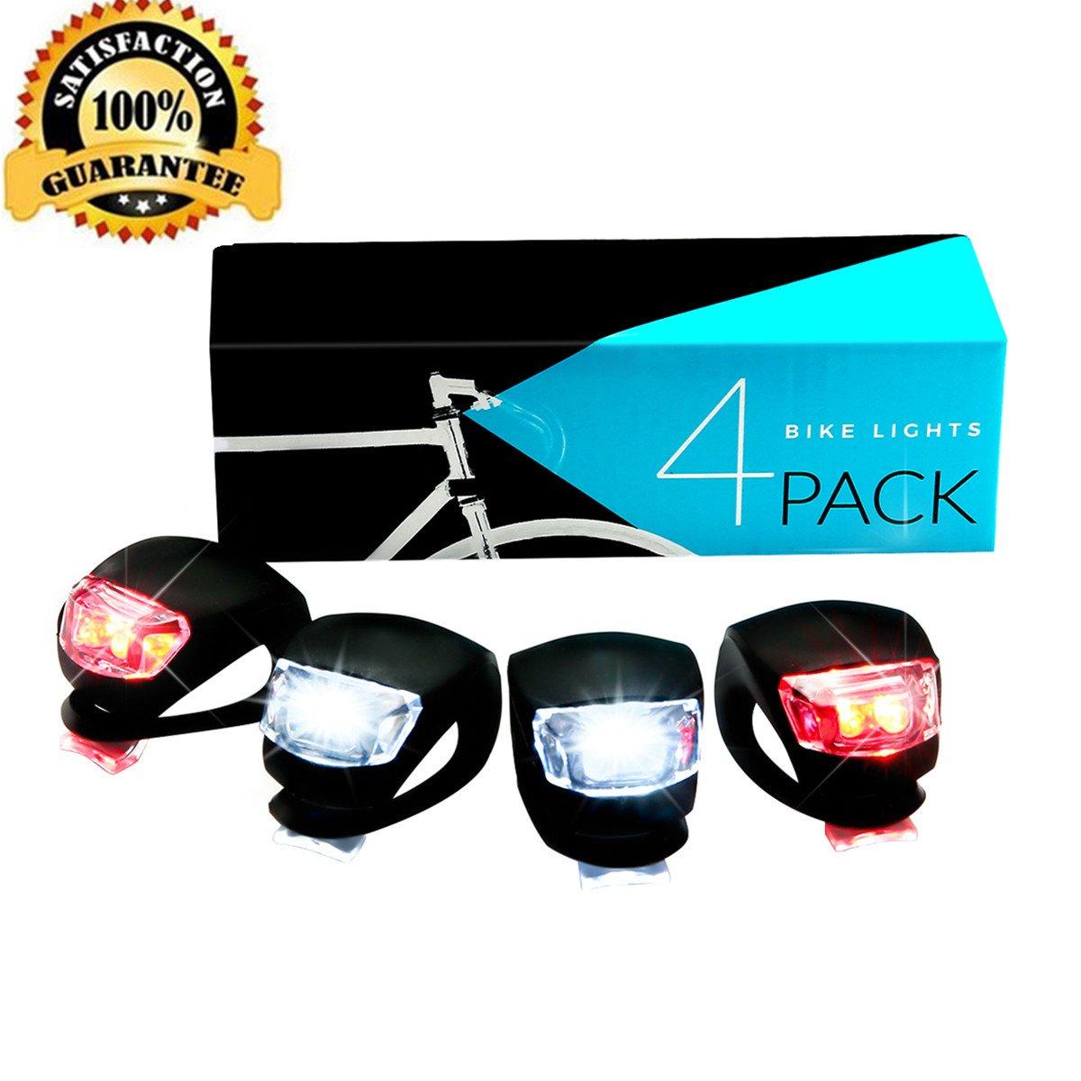 Bicicletta Luce 2/x Luce Rossa 2/x Pacchetto con luci Bianche Torcia Impermeabile in Silicone Set Luce Illuminazione di Sicurezza per Biciclette da Bambino Mountainbikes SGODDE LED Bike Light Set