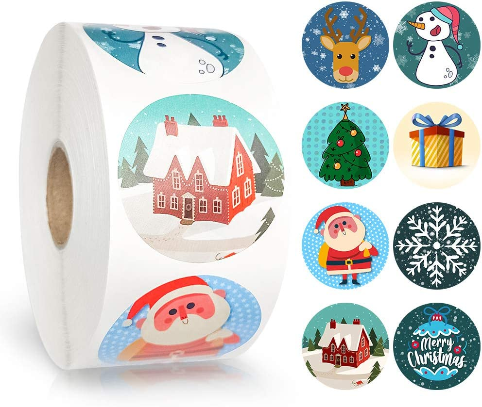 ZIIDOO 1000 Pcs Adorable Roll Christmas Stickers in 8 Designs,Non-Toxic Stickers,Party Decorations,Favors for Boy and Girls
