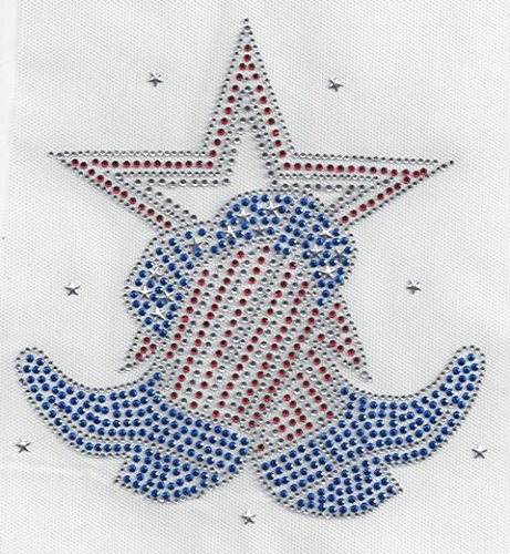 [Cowboy Boot Rhinestone Hotfix Heat Transfer Red White and Blue Cowgirl] (Cowgirl Costumes Diy)