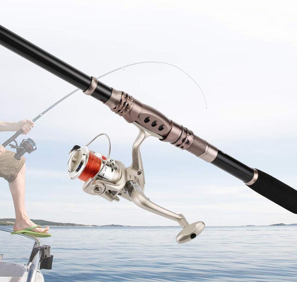 SKYSPER Caña de Pescar Telescópica de Fibra Ultraligera Portátil Pesca Spinning