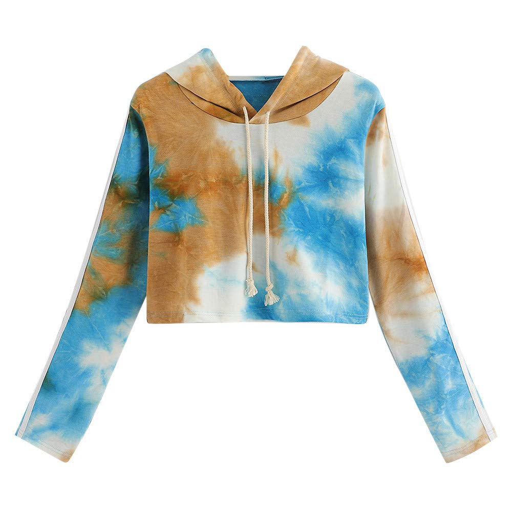 Festiday Long Hoodies For Women Fashion Clearance Sale 2018 New Casual Tanks & Camis Women Long Sleeve Tie Dyed Printed Drawstring Hooded Sweatshirt Pullover Blouse