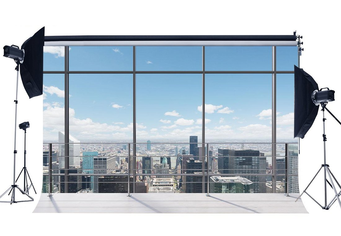 Gladbuy Vinyl 7X5FT Office Room Backdrop American New York City Business Street View Skyscraper French Sash Blue Sky White Cloud Sunshine Photography Background Person Photo Studio Props KX131