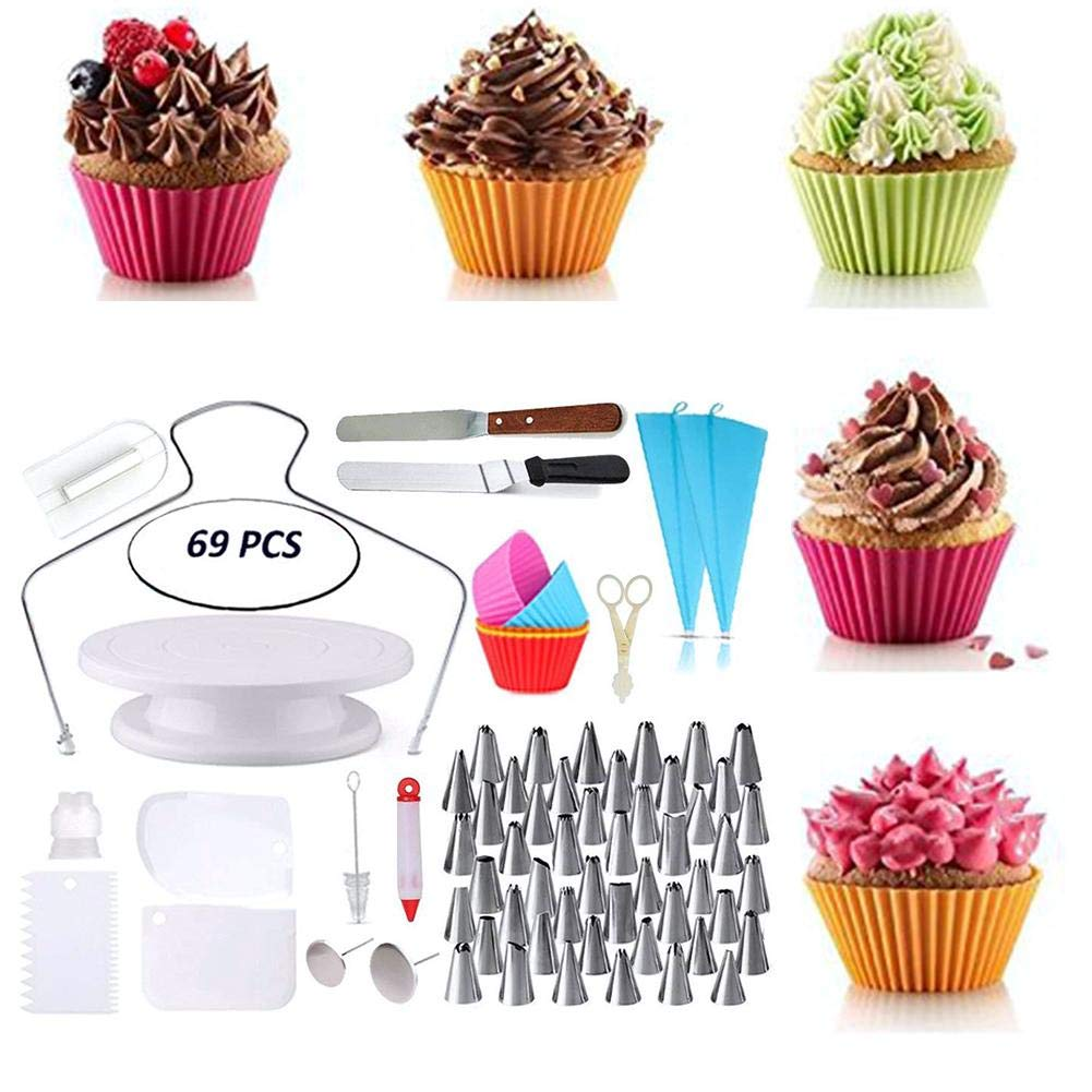 Piping Bags - 69PCS Cake Decorating Supplies Cake Scrappers Turntable Piping Tip Nozzle Pastry Bag Kitchen Gadget DIY Baking Tools Accessories by Piping Bags (Image #7)