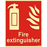 Clickforsign CLFES-VINYL1-8 Glow In the Dark Fire Extinguisher Fire Equipment Self Adhesive Vinyl Sticker Sign for Walls and Doors (200 x 150 mm)