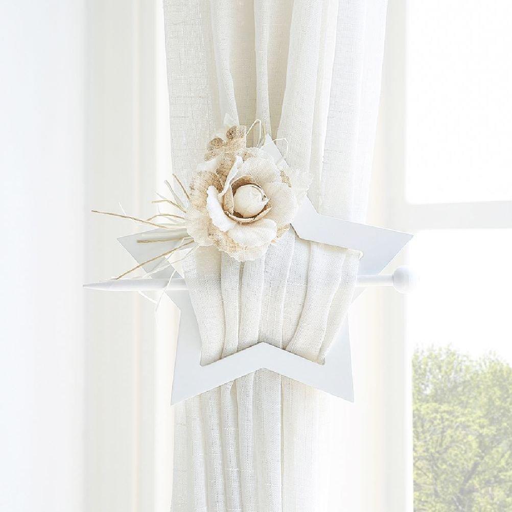 Inteeon home series 1 Pair Floral Curtain Tie Heart Star Shape Buckle Curtain Pin Curtain Hook