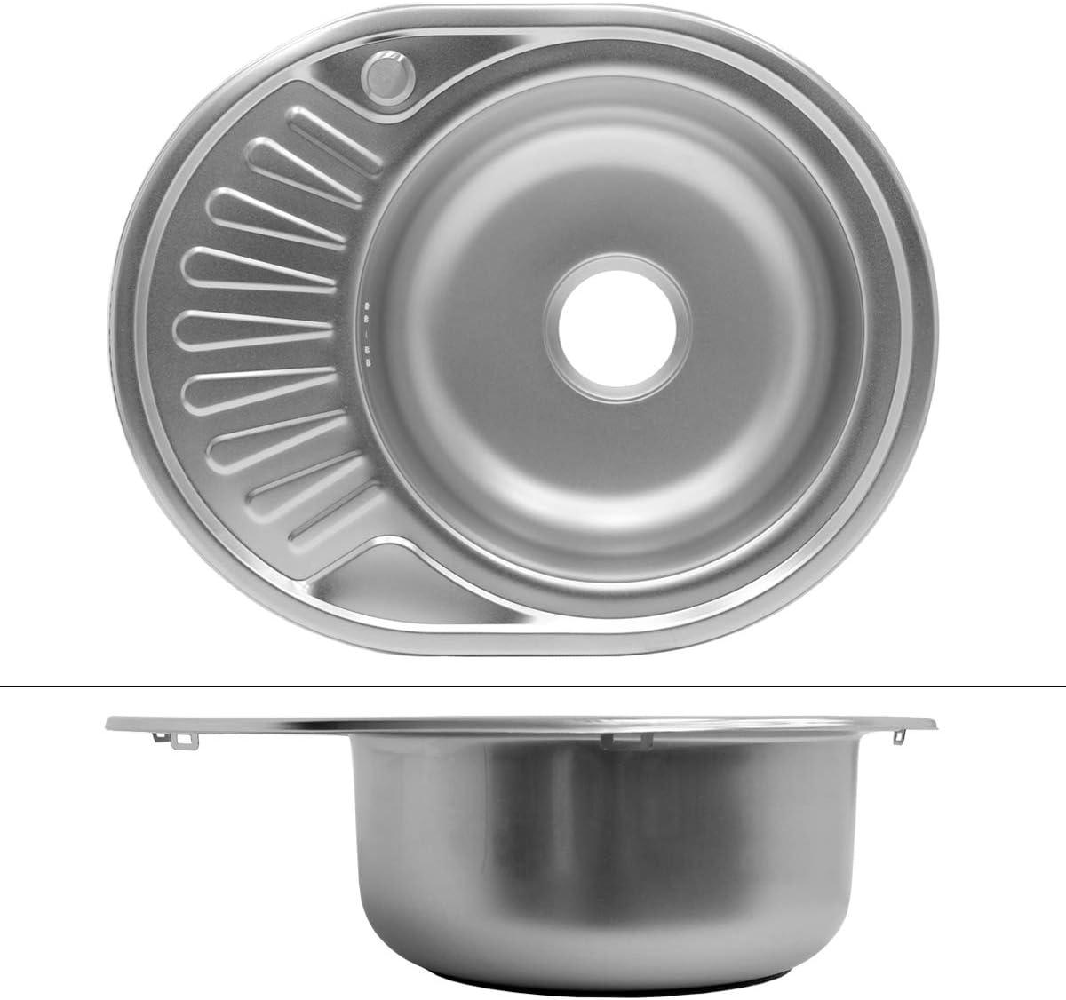pila lavadero platos manual empotrado con rebosadero ECD Germany Fregadero de cocina 58 x 45 cm /Ø35cm con juego de desag/üe lavabo a la derecha con sif/ón soporte a la izquierda- acero inoxidable
