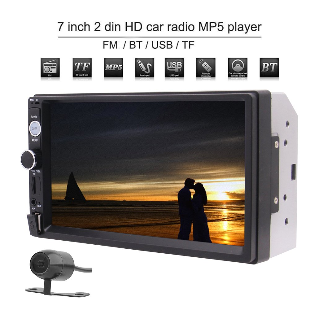 EinCar 7 Inch Double Din Bluetooth Car Stereo Radio MP5 Player HD Touch Screen Car Multimedia System Support Bluetooth Handsfree USB/FM/TF Aux Input and Rear view Camera Input Remote Control