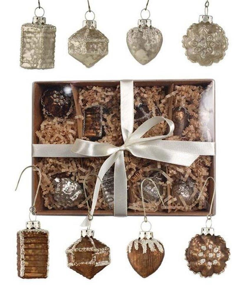 Christmas Tablescape Décor - Elegant bronze and pearl mini mercury glass Christmas ornaments - Set of 8