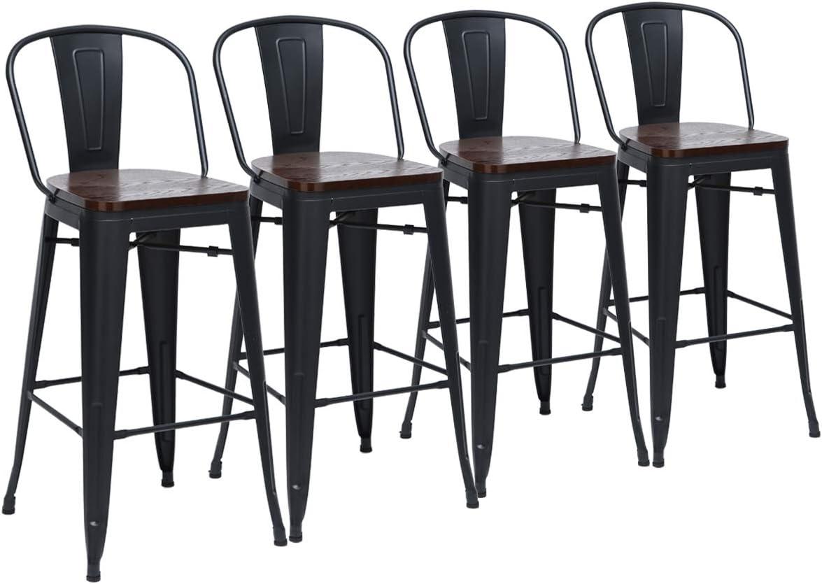 Yongchuang Counter Metal Bar Stools High Back Bar Chairs Pack of 4 24 , Matte Black Wood Top