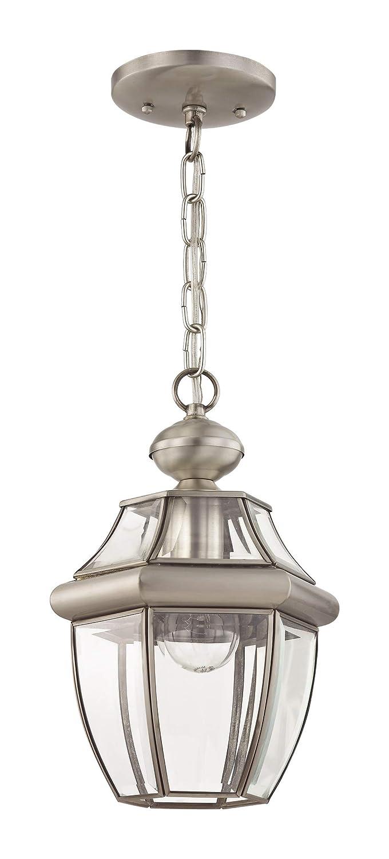 Antique Brass Livex Lighting 2152-01 Monterey 1-Light Outdoor Hanging Lantern