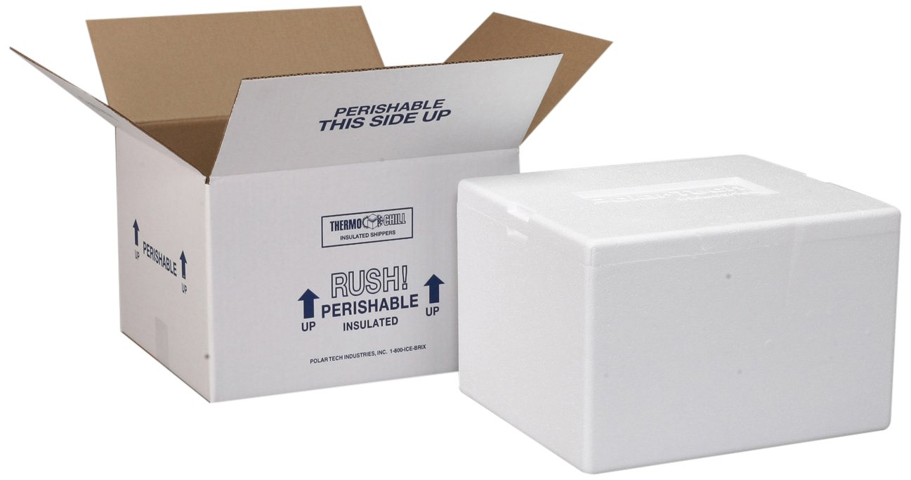 Polar Tech Thermo Chill 207/T16C Small Insulated Foam Container, 8'' Length x 6'' Width x 7'' Depth